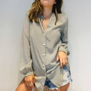 Equipment striped long sleeve button down top